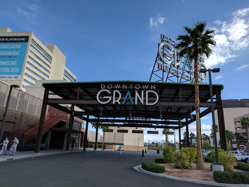 Downtown Grand Hotel Entrance and Valet - Downtown Las Vegas hotel and casino.