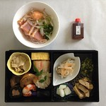 Today's lunch in the sky, en route Tokyo to Mumbai. Japanese food as art #lunchspiration
