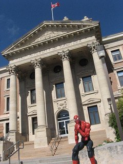 Spider-Man outside the U of M administration building