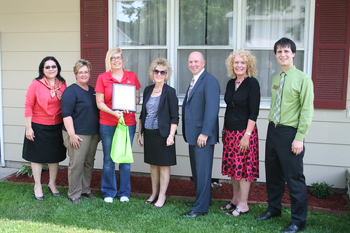 (L to R) Administrator Trevino; Christine Rutherford, Peoples Bank and Trust; Stefanie Koester, homeowner; Janie Dunning, Missouri Rural Development  State Director; Mike Mullen, Equitable Mortgage; Pam Anglin, Missouri Housing Program Director and Corey Husak, Senator Claire McCaskill's Office.  USDA photos.