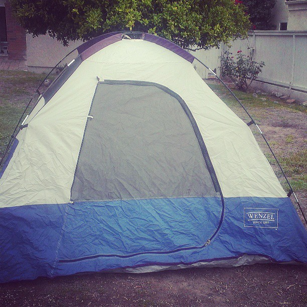The tent I used to go camping in with my dad...goes full circle.