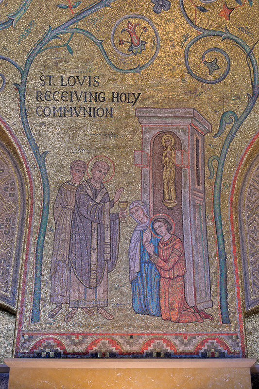 Cathedral Basilica of Saint Louis, in Saint Louis, Missouri, USA - mosaic 7 in Narthex - St. Louis Receiving Holy Communion
