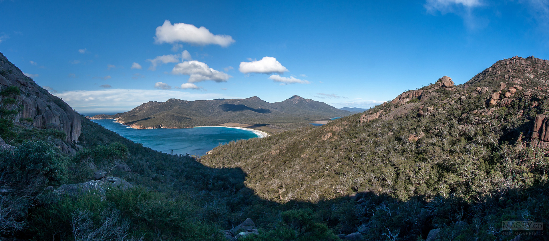 Our first sweeping view of the beautiful Wineglass Bay.