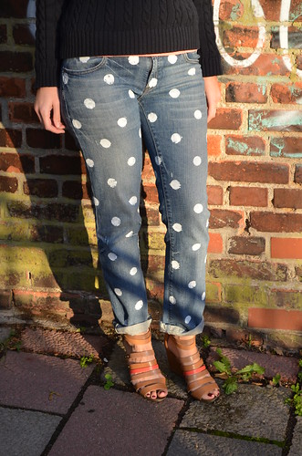 polka dot jeans in sunlight