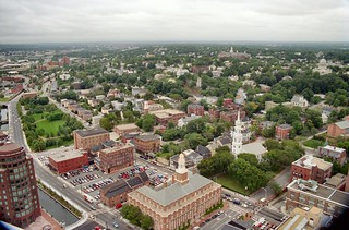 H_15A College Hill - Looking North-North-East Up Canal Street and North Main Street on the Left with the Roger Williams National Memorial and Benefit Square Between Them - The First Baptist Church (1775) is on the Right