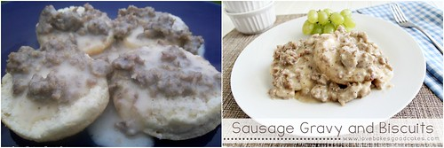 Sausage Gravy and Biscuits Collage