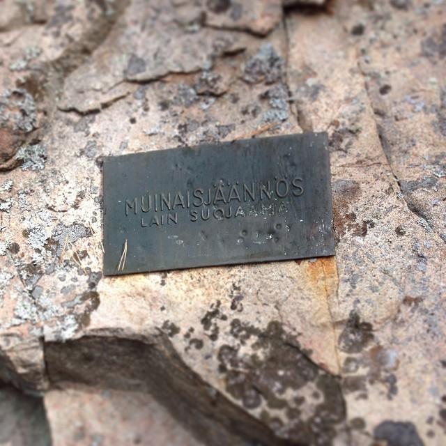 Muinaisjäännös-laattaa on ammuskeltu... #saraakallio #kalliomaalaukset #imnv #idiotismi