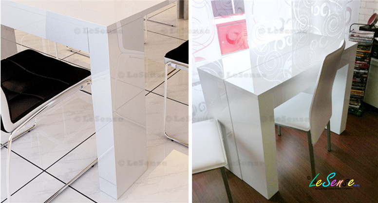 New High Gloss White Console Table Extendable To Dining