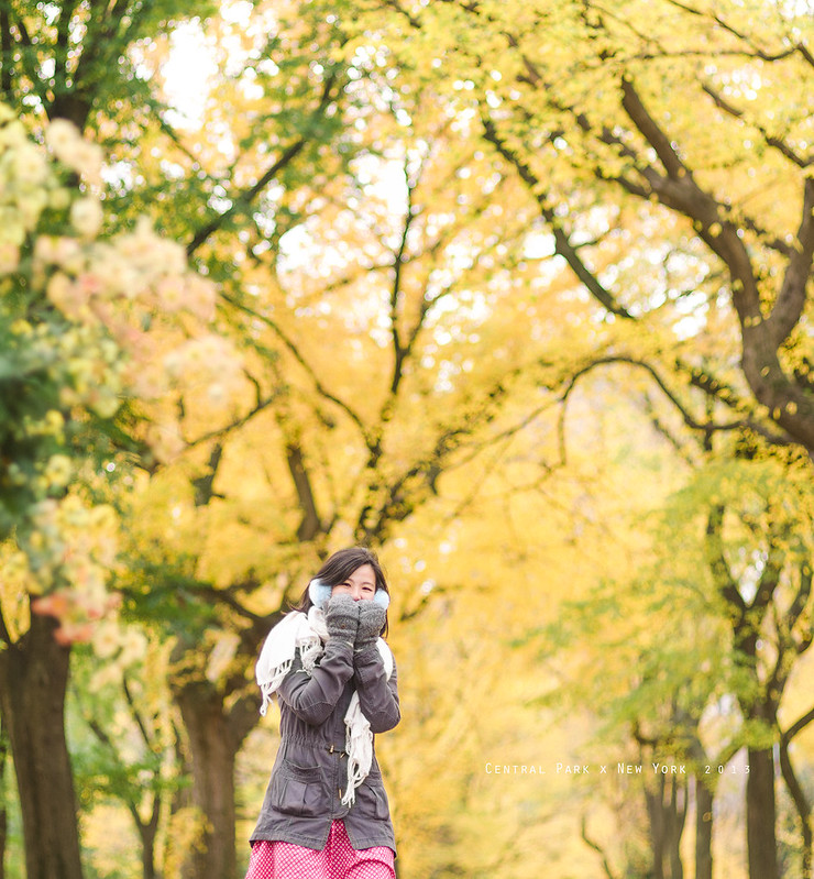 和女王去紐約中央公園看葉子變色。