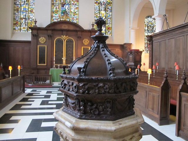 The font with carvings by Grinling Gibbons.