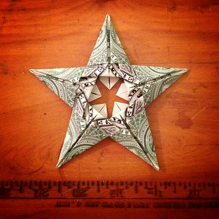 Folded cash - DIY origami star - side 2