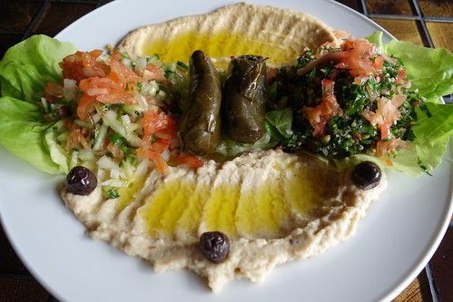 Levant's Mixed Appetizer Platter - Hummus, Moutabal, Taboula & Green Salad