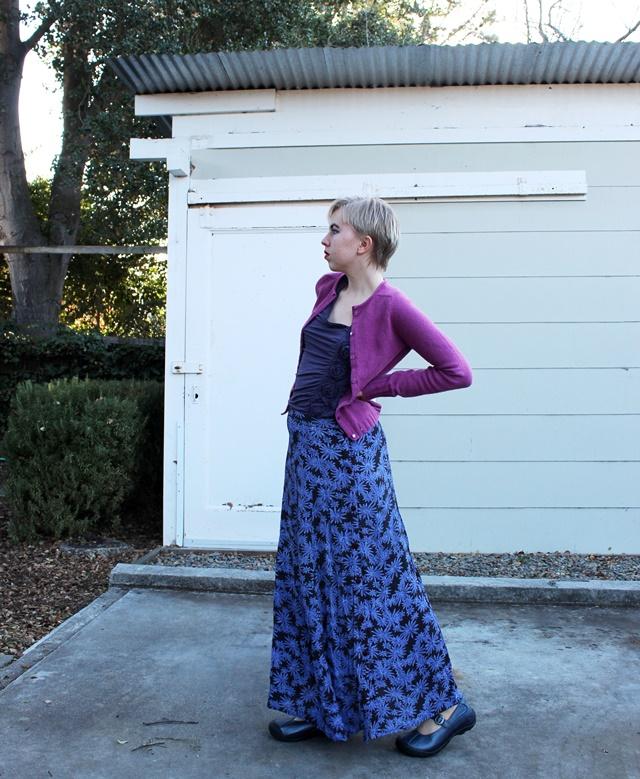 Fuchsia Cardigan, Eggplant Rose Ruffle Tank Top, Periwinkle Floral Maxi Skirt, Bright Red Lipstick - OOTD 12/28/2013