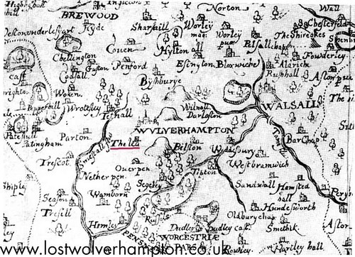 Saxtons map of Staffordshire, dated 1577