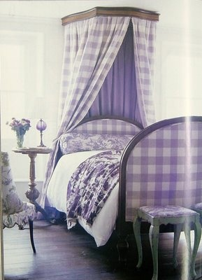 purple gingham toile