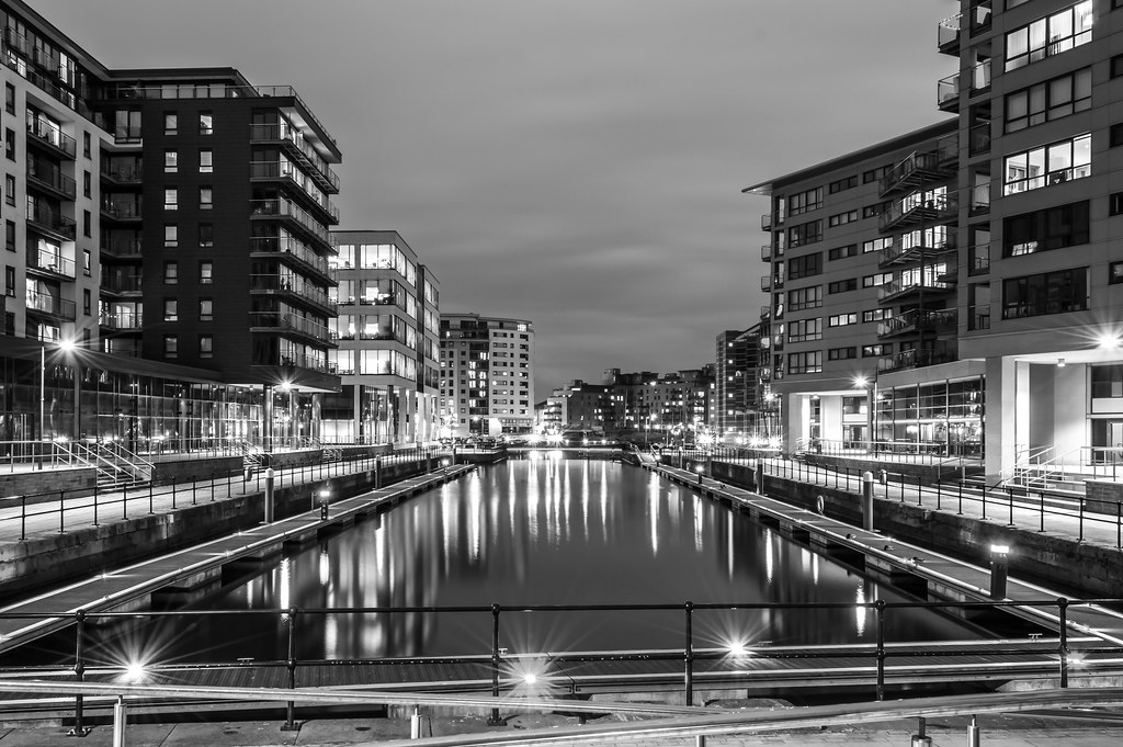 Clarence Dock by night B&W