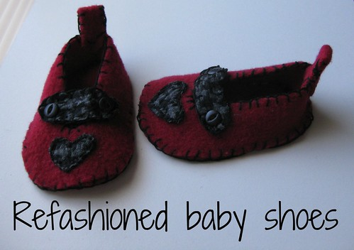 Refashioned baby shoes