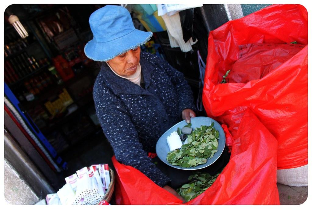 potosi coca leaf vendor