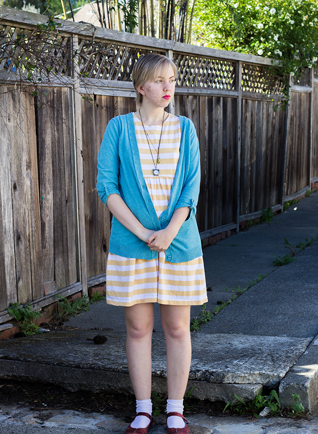 slouchy sky blue cardigan, striped yellow dress