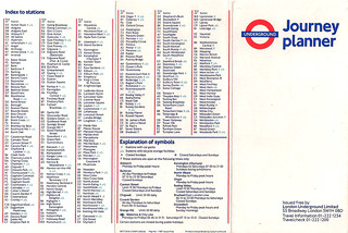 Map #1 1987 Tube Map Index to Stations