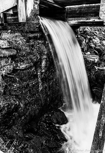 white black water river bench waterfall moody sweden roots feeling falköping