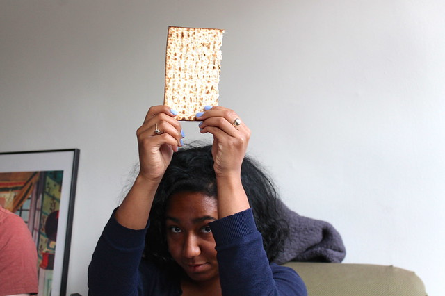 Holding up the matzoh