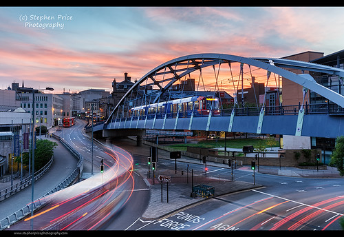 city longexposure bridge sunset urban evening cityscape sheffield tram transportation lighttrails bluehour carlights cityatnight supertram southyorkshire pondsforge