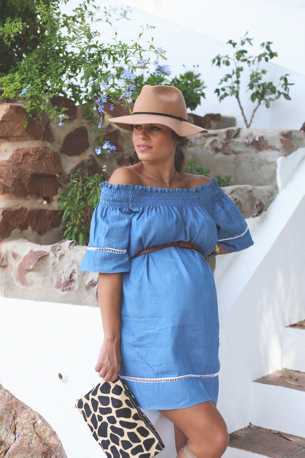 10. off shoulders denim dress - jessie chanes - pregnancy