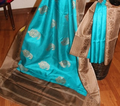 Turquoise blue Soft Handwoven Silk Saree with blouse Sarees on Shimply.com