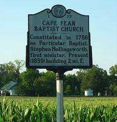 NC historical marker Cape Fear Baptist Church