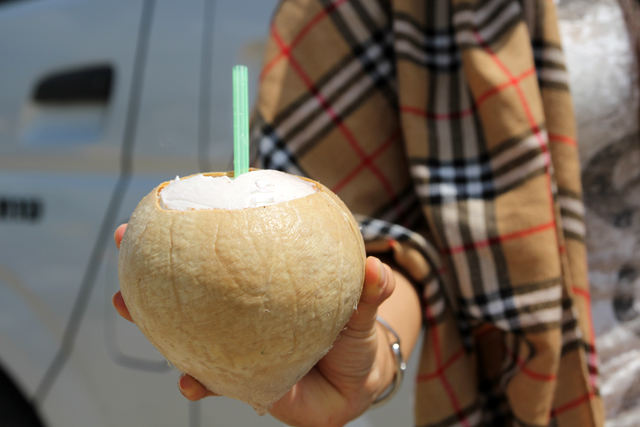 Refreshing myself with a fresh coconut