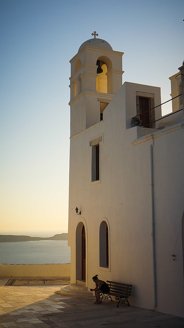 Church in Milos Plaka near sunset