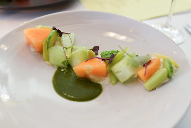 summer vegetables, mascarpone, melon