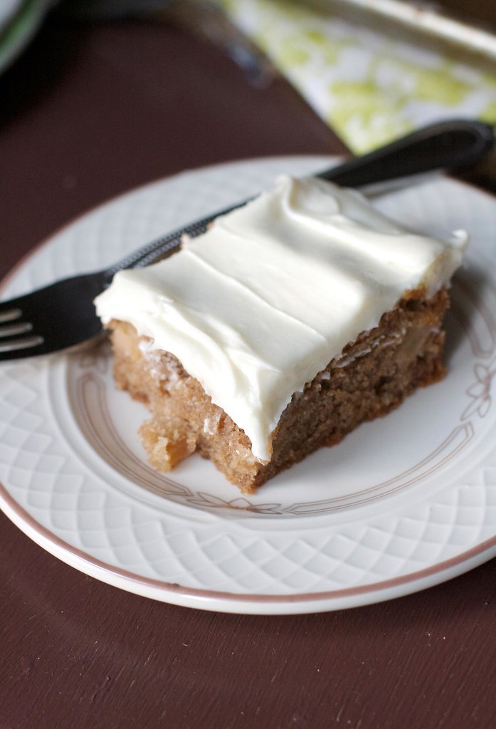 Apple Cinnamon Sheet Cake with Cream Cheese Frosting via The Baker Chick