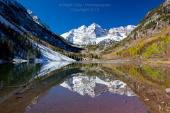 Maroon Bells With Fresh Snow and Waning Autumn Colors