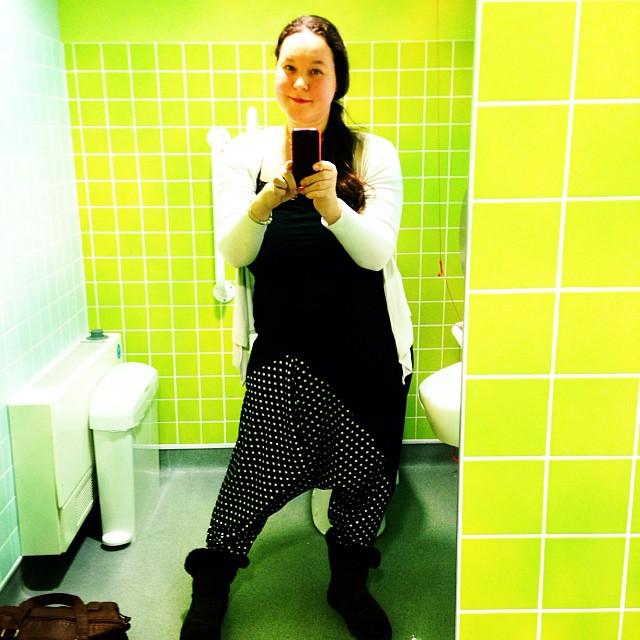 Seriously funky a cool, new, polka dotted trousers make me happy :)