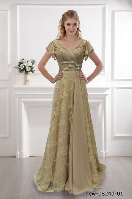 A-line klänning champagne klänning inslagna axeln klänning