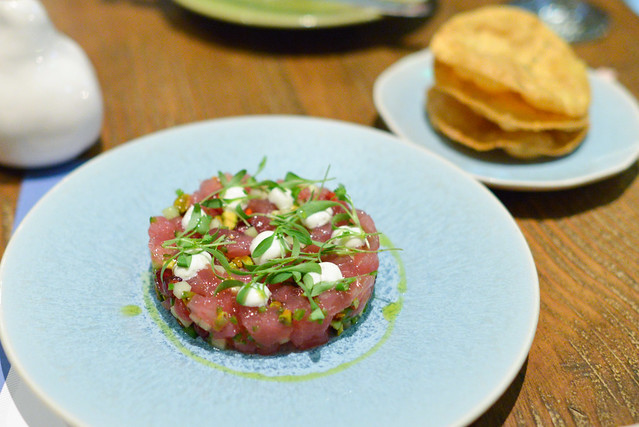 Ahi Tuna Tartare, Pomegranate, Greek Yogurt, Cucumber, Pappadam