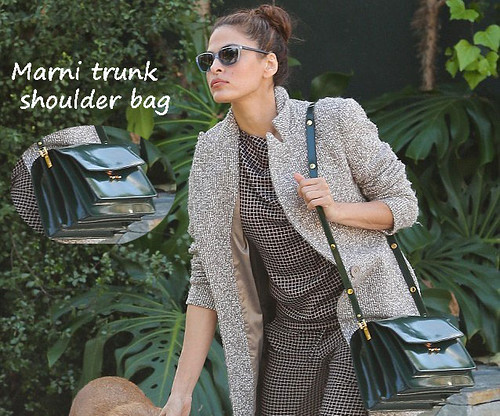 Eva Mendes carrying a green Marni trunk shoulder bag