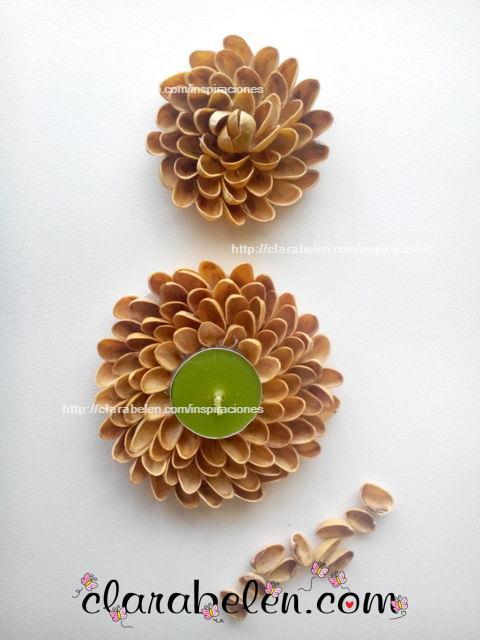 Manualidades con reciclaje servilleteros y porta velas hechos con pistachos