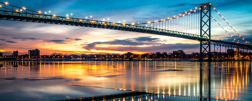 "This is Ambassador Bridge - connects the USA and Canada.( a view from Detroit side). Picture taken during the ""blue hour"" Please enjoy the view the way I did."