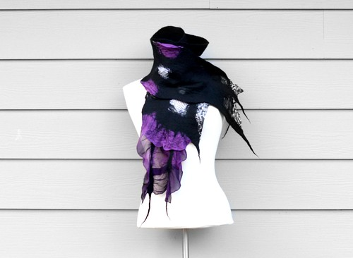 Nuno Felt Fashion Scarf Handmade Wool Silk Purple and Black