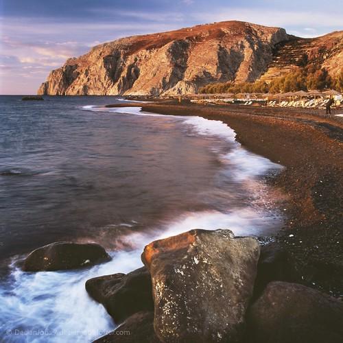 海滩 风光 日出 摄影 圣托里尼 希腊 流水 胶片 慢门