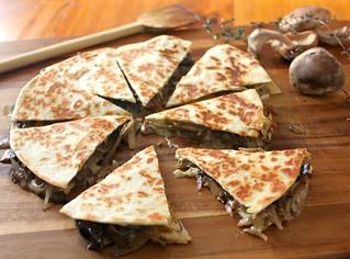 Brie and mushroom quesadilla