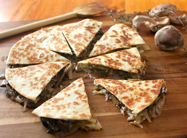Brie and mushroom quesadilla