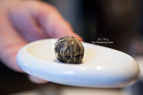 Hand-sewn green tea blossom