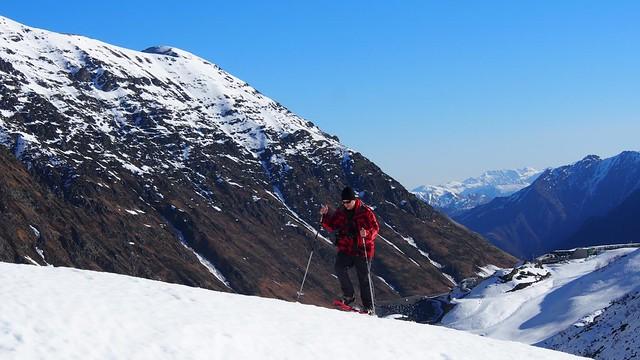 Caminando con raquetas en el Valle de Badet (Pirineo francés)