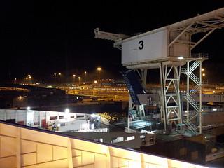 Vue sur le terminal de Dover depuis le ferry DFDS