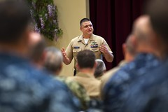In this file photo, Chief Petty Officer Jeremy Kelsey speaks during a previous readiness summit in Pearl Harbor. (U.S. Navy/PO3 Diana Quinlan)