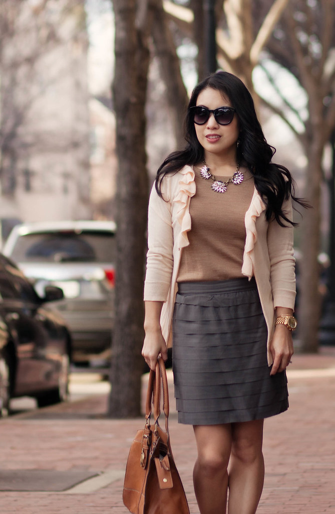 cute & little blog | neutrals with a modern twist outfit | peach ruffle cardigan, camel sweater, gray tiered skirt, chloe + isabel morningtide necklace